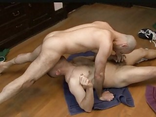 bald gay hunk blows big penis into position 69