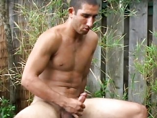 inflexible and beautiful gay hunk jerks off his