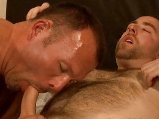 naughty gay hunk licks his mans heavy shaft