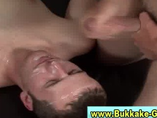 bukakke soaks slutty gay after hes been drilled