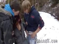 cold bi three people teen gathering