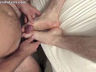 gay footjob with white cream