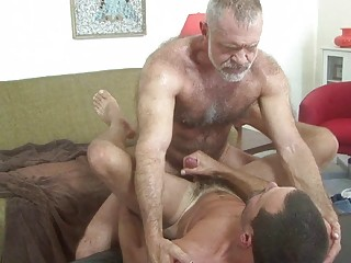 cougar gay daddy fucks fresher stud on stall