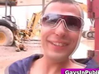 gay banging and jizzing into al fresco