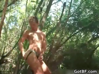 twink jerking off inside the woods gay dudes