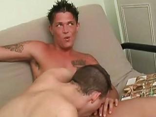 sweet gay twink slurps on raging heavy boner