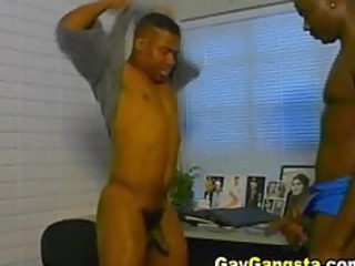 gay arse pierced uneasy  in his bureau