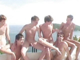 six awesome twinks having gay banging party