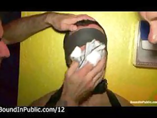 bound blindfolded man submitted by bunch  of gays