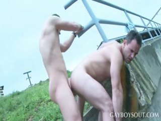 outside gay butt gang bang with two super studs