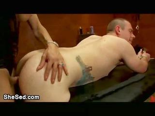 busty shemale slut fucks tied male