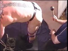 bondage, ball bashing and anal plug