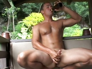 inflexible muscular gay guy jerks off his large