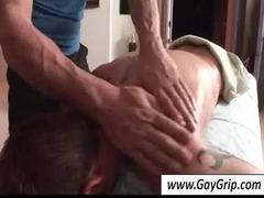 brunette gay acquires stunning bottom massaged