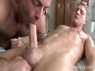cock addict gay masseur giving fellatio in closeup