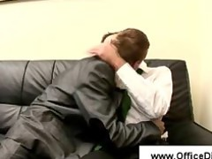 man cutie takes blowjob at his interview
