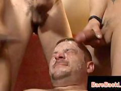 facial bukkake on white gay slut