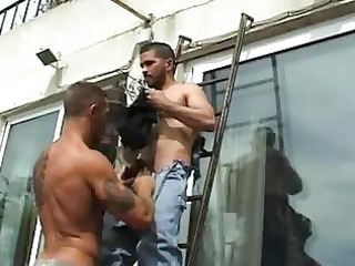 muscular gay guy drilled handyman openair