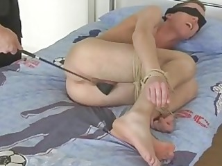 blonde gay fucker gets blindfolded and spanked