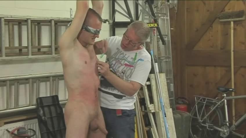 gorgeous gay hunk acquires tied blindfolded and