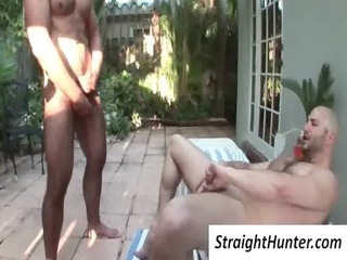 naughty bald gay obtains bottom nailed outside