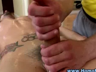 gay straight oily handjob