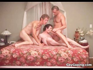 triple gays lick cocks and pierce butts