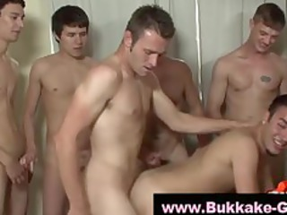 hungry gay acquires bukkake from jerking off gays