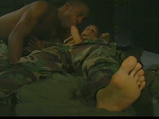 two army gays lick penis into mixed tryst