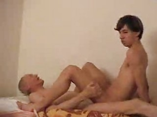 inexperienced gay drives his daddys strong boner