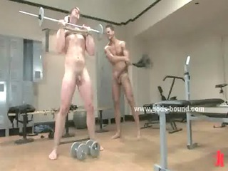 sexy gay porn slave doing gym excercise showed