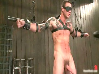 tattooed hunk blindfolded and obtains gays