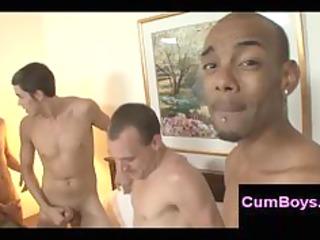 black gay boy gets no rest after bukkake and