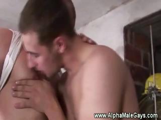 gay stud licks off his coworkers penis