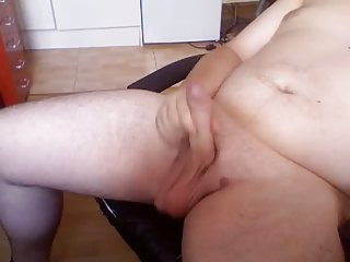 plump gay boy wanking and squeezing his filling in