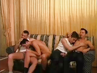 slutty gay lovers bang uneasy  on armchair