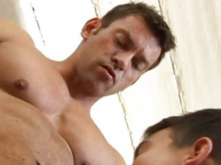 gay muscle stud gets his difficult rod sucked off
