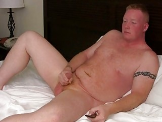 albino gay guy jerks off his plump shaft