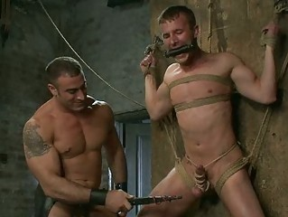 extremely impressive tied up gay hunk had penis