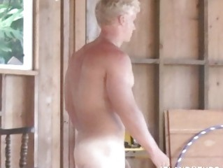 gay stud cleans the garage showed